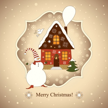 vector beautiful christmas card christmas house