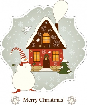 vector beautiful christmas greeting cards houses