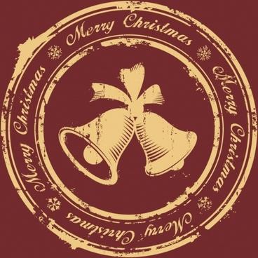vector beautiful christmas stamp imprint