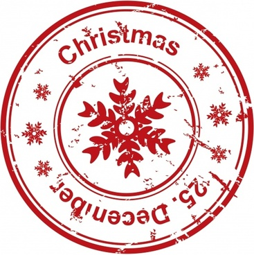 christmas seal template retro red flat circle