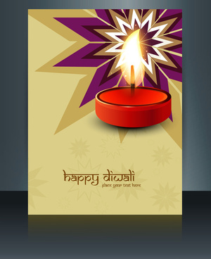 vector beautiful diwali celebration brochure card template