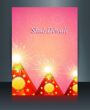 vector beautiful diwali celebration brochure card template