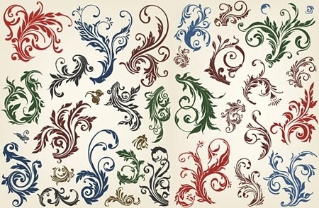 classical flowers pattern colorful seamless curves style