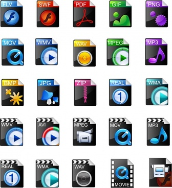 vector beautiful icon commonly used video formats
