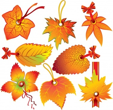 leaf tags templates autumn theme yellow decor