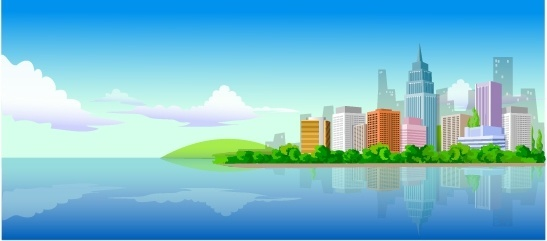 city landscape drawing skyscrapers icon multicolored cartoon design