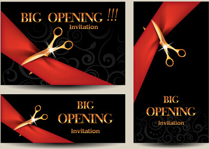 Vector Big Opening Invitation Cards Set