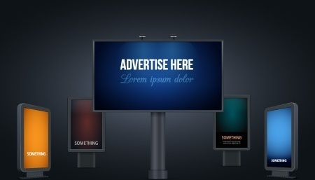 advertisement board sets colored light effect style