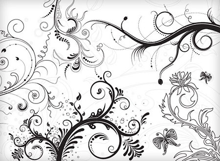 classical flowers background black white decoration