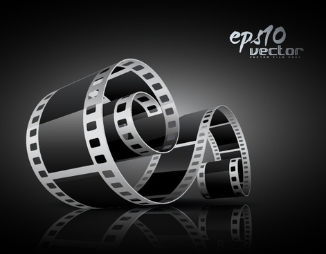 vector black and white 3d movie film