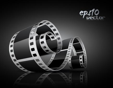 movie festive banner shiny elegant 3d filmstrip