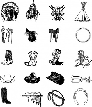 cowboy indian design elements accessories icons retro sketch