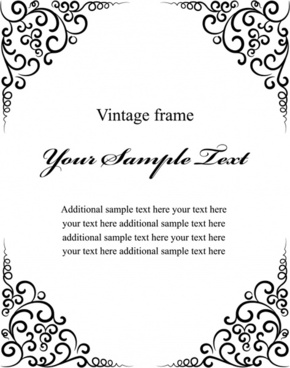 vintage frame template black white classical symmetric design