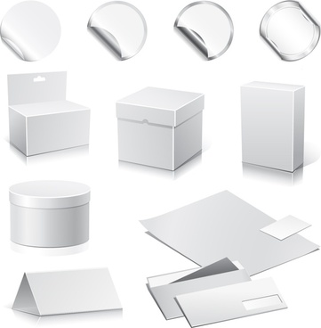packing design elements shiny grey modern 3d sketch