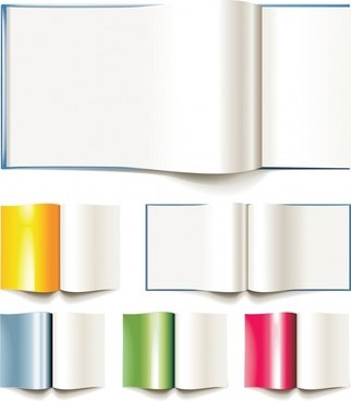 open book page icons modern shiny 3d design