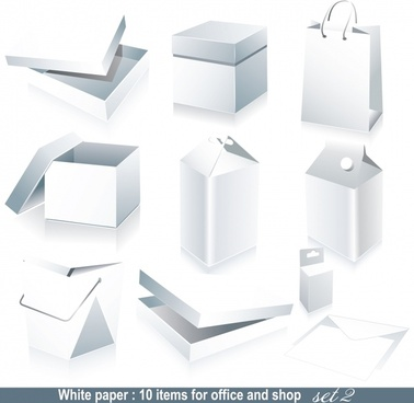 shopping design elements box bag icons blank 3d