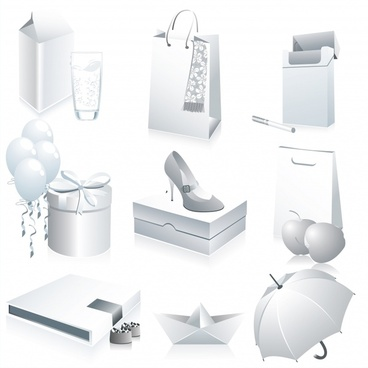 goods icons bright white blank 3d design