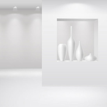 art gallery decor template shiny luxury white design