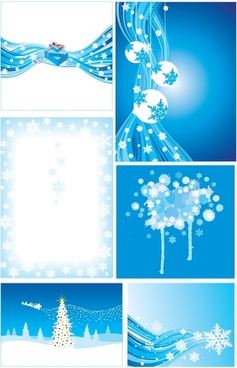 christmas background sets symbols decor sparkling blue design