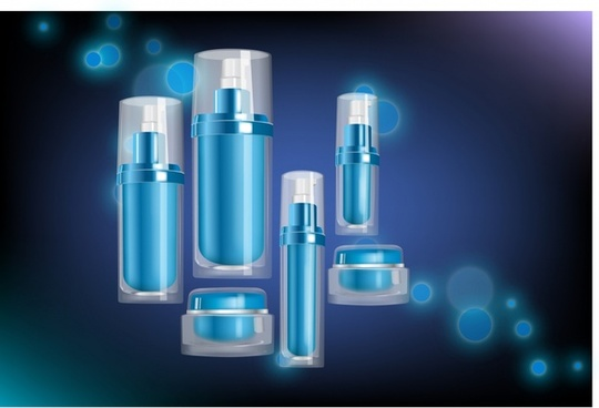 cosmetic advertising banner products icons blue bokeh decor
