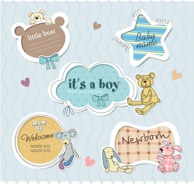 vector blue cartoon cute labels
