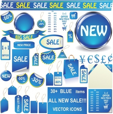 sale tags templates shiny modern blue shapes sketch