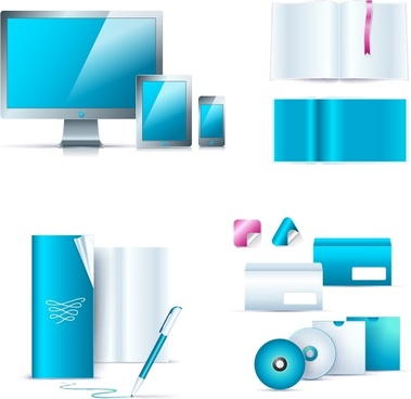 office stationery icons shiny modern blue white decor