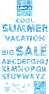 vector blue summer letters