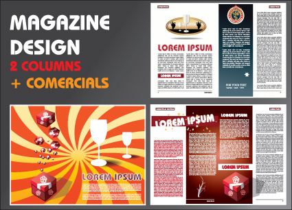 vector brochure and magazine layout design set