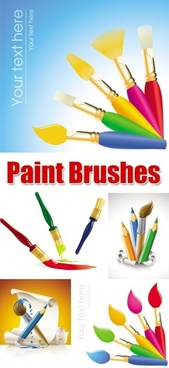 paint brushes advertising theme various colorful styles