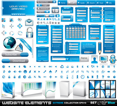 vector business website elements kit set