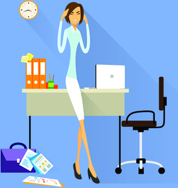 vector business woman design set
