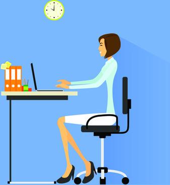 vector business woman design set