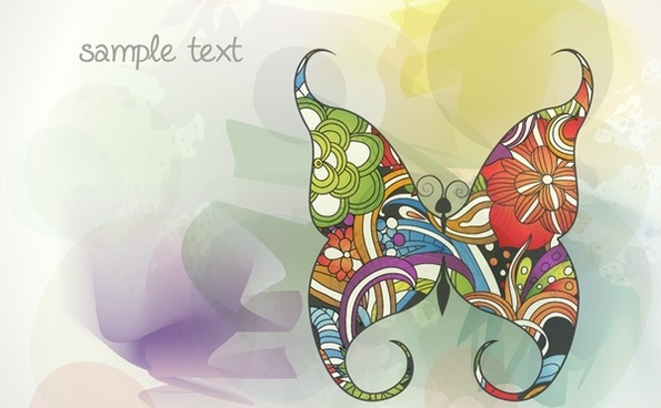buttefly icon background colorful classical decoration