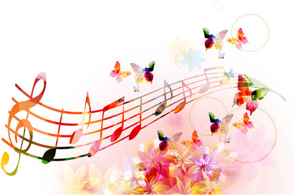 vector butterflies and flower background art