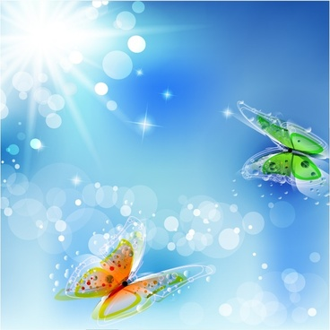nature background butterflies sunlight sketch vivid bokeh decor