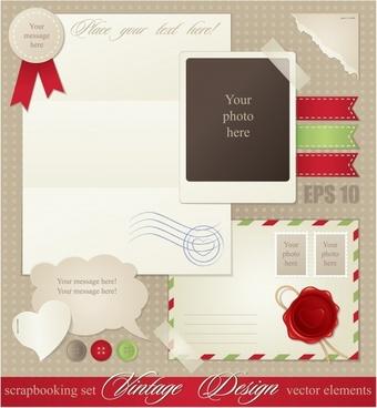 vector buttons card sticker notes envelopes