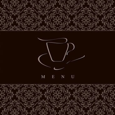 menu cover template coffee cup sketch dark classic