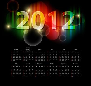 2012 calendar template dark elegant design sparkling light