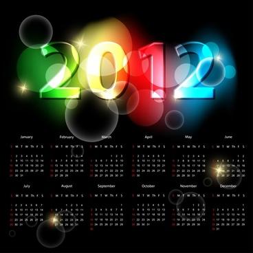2012 calendar template dark colorful bokeh light decor