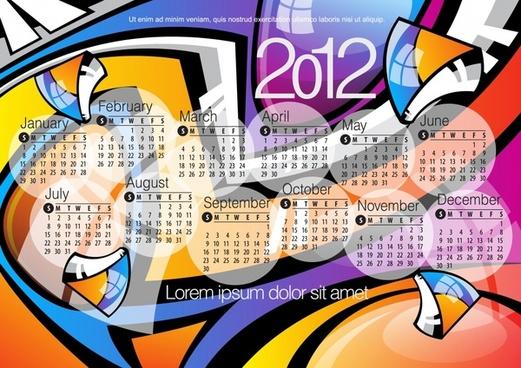 vector calendar 2012 calendar