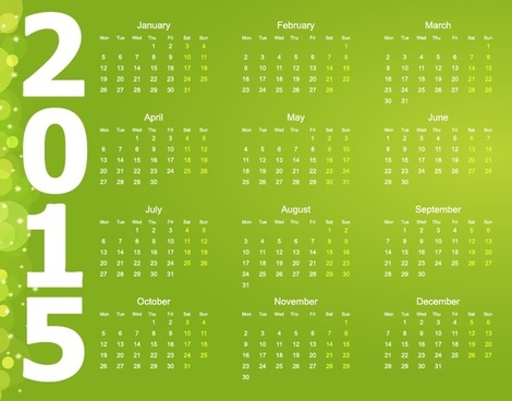 vector calendar for15 year with green background
