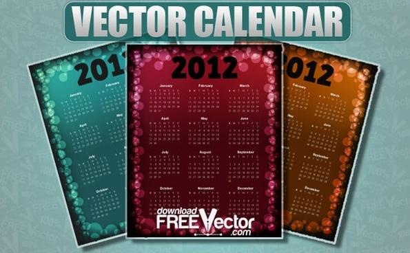 Vector Calendar For 2012
