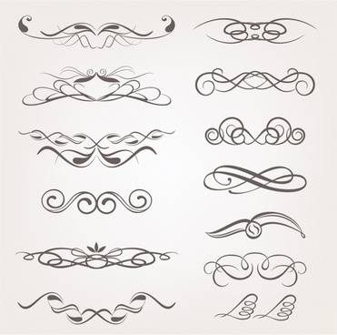 Vector calligraphic decorative design elements