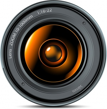 camera lens icon closeup realistic sketch modern design