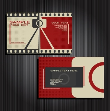 business card template movie theme decor flat design