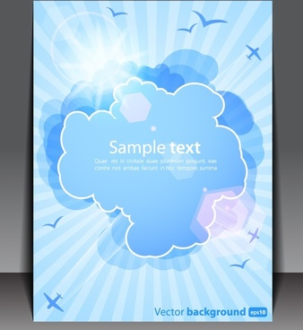 booklet cover template modern sparkling clouds birds decor