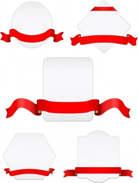 label sets white blank templates 3d red ribbon