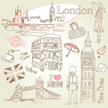 london design elements handdrawn icons sketch