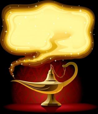 decorative background template golden myth lamp sketch